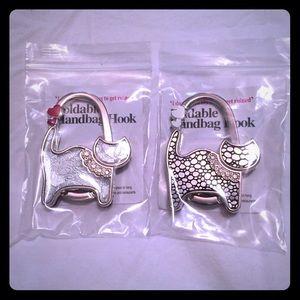 Accessories - Two Silver Cat Foldable Handbag Hooks